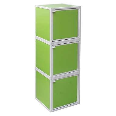 Way Basics Eco Friendly Stackable 3 Box Storage Cubes, Green