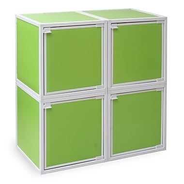 Way Basics Eco Friendly Stackable 4 Box Storage Cubes, Green