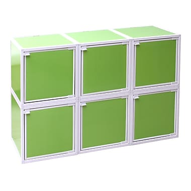 Way Basics Eco Friendly Stackable 6 Box Storage Cubes, Green