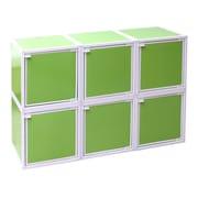 Way Basics Eco Friendly Stackable 6 Box Storage Cubes, Green