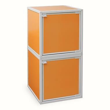 Way Basics Eco Friendly Stackable 2 Box Storage Cubes, Orange