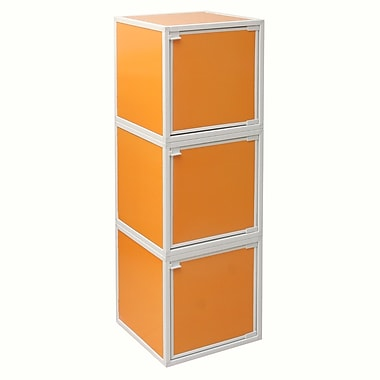Way Basics Eco Friendly Stackable 3 Box Storage Cubes, Orange