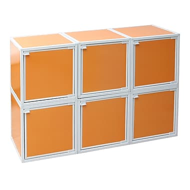 Way Basics Eco Friendly Stackable 6 Box Storage Cubes, Orange
