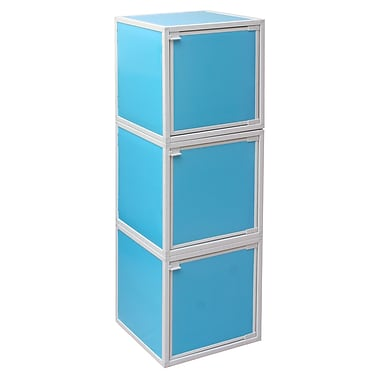 Way Basics Eco Friendly Stackable 3 Box Storage Cubes, Blue