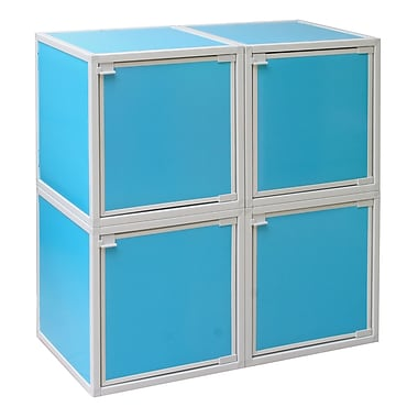 Way Basics Eco Friendly Stackable 4 Box Storage Cubes, Blue