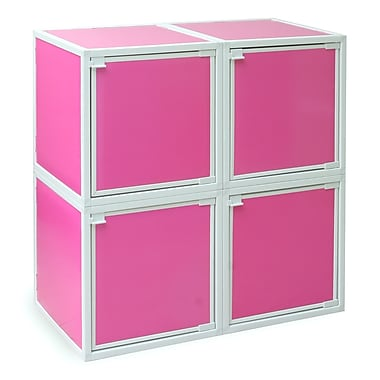 Way Basics Eco Friendly Stackable 4 Box Storage Cubes, Pink