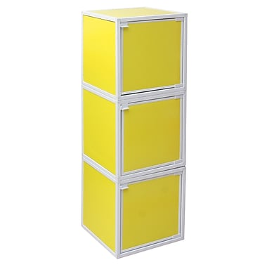 Way Basics Eco Friendly Stackable 3 Box Storage Cubes, Yellow