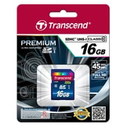 Transcend® Premium 16GB SDHC (Secure Digital High-Capacity) Class 10 (UHS-I) Flash Memory Card
