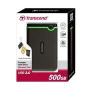 Transcend® StoreJet® 25M3 500GB USB 2.0/3.0 External Hard Drive, Black