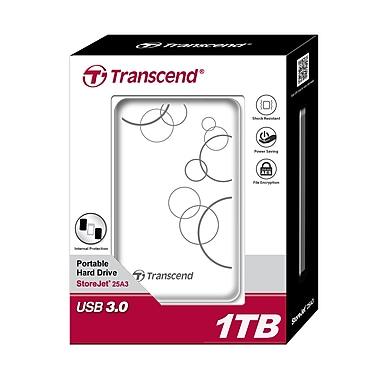 Transcend® StoreJet® 25A3 1TB USB 2.0/3.0 External Hard Drive, White