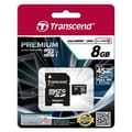 Transcend® Premium 8GB microSDHC (Micro Secure Digital High-Capacity) Class 10 Flash Memory Card