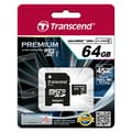 Transcend® Premium 64GB microSDXC (Micro Secure Digital Xtended-Capacity) Class 10 Flash Memory Card