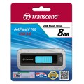 Transcend® 760 8GB USB 3.0 USB JetFlash Drive, Black/Light Blue