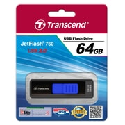 Transcend® 760 64GB USB 3.0 USB JetFlash Drive, Black/Blue