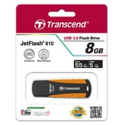 Transcend® 810 8GB USB 3.0 USB JetFlash Drive, Black/Orange