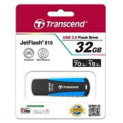 Transcend® 810 32GB USB 3.0 USB JetFlash Drive, Black/Blue