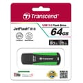 Transcend® 810 64GB USB 3.0 USB JetFlash Drive, Black/Green