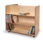 Whitney Brothers Two Sided Mobile Library Cart, Natural