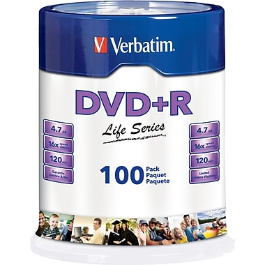 Verbatim® Life Series 4.7GB DVD+R, Spindle, 100/Pack