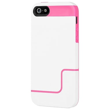 Incipio® Co-Molded Hard Shell Slider Case for Apple iPhone 5, Optical White/Hot Pink
