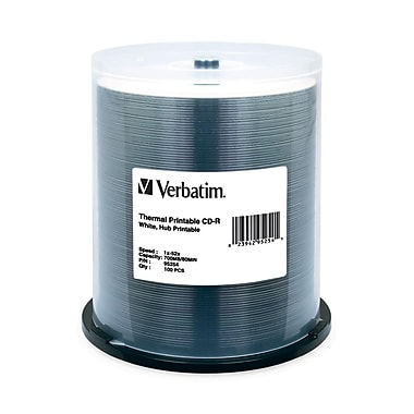 Verbatim® 700MB White Thermal Hub Printable CD-R, Spindle, 100/Pack