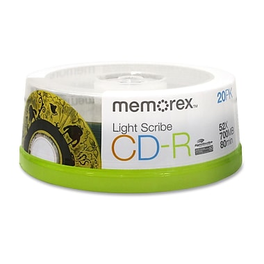 Imation Memorex™ 700MB 52X LightScribe CD-R, Spindle, 20/Pack