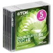 Imation TDK® 8.5GB Dual Layer DVD+R, Jewel Case, 5/Pack