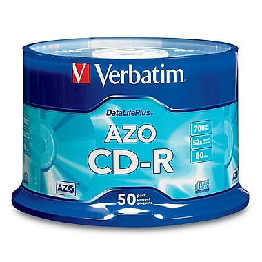 Verbatim® DataLifePlus 700MB CD-R, Spindle, 50/Pack