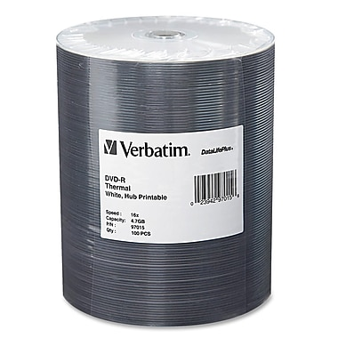 Verbatim® DataLifePlus 4.7GB 16X Thermal Hub Printable DVD-R, Wrap, 100/Pack