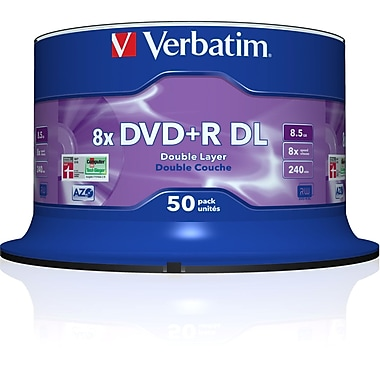 Verbatim® 8.5GB Dual Layer DVD+R, Spindle, 50/Pack