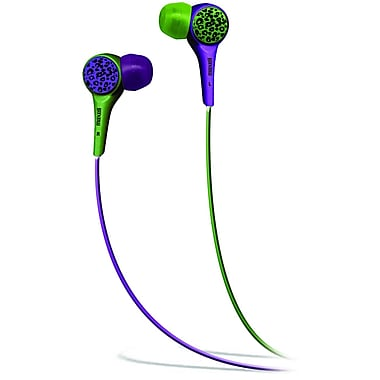 Maxell 190343 Wild Things In-Ear Earphone, Purple/Green