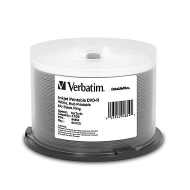 Verbatim® DataLifePlus 4.7GB 8X White Inkjet Hub Printable DVD-R, Spindle, 50/Pack
