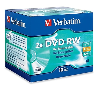 Verbatim® 4.70GB DVD-RW, Jewel Case, 10/Pack