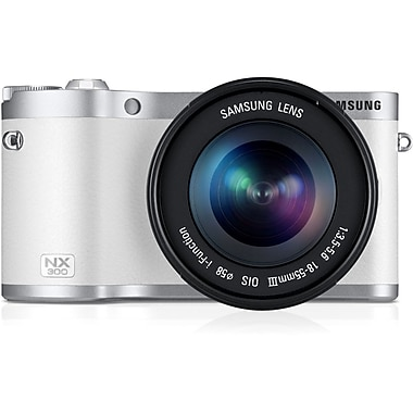 Samsung NX300 20.3 MP SMART Microless Camera With 20 - 50 mm Lens, White