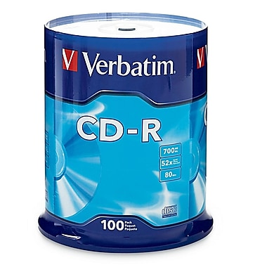 Verbatim® 700MB High Grade Branded CD-R, Spindle, 100/Pack