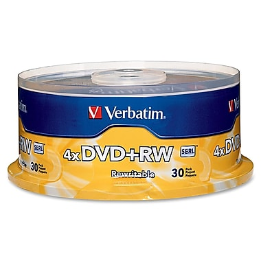 Verbatim® 4.70GB DVD+RW, Spindle, 30/Pack