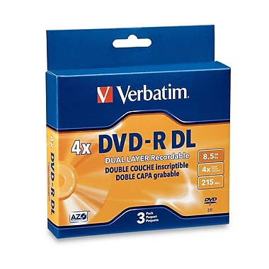 Verbatim® 8.5GB 4X AZO DVD-R DL, Jewel Case, 3/Pack