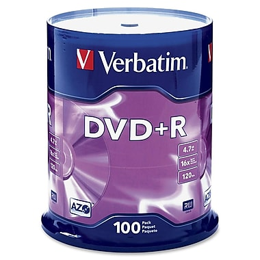 Verbatim® AZO™ 4.7GB DVD+R, Spindle, 100/Pack
