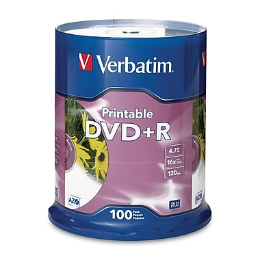 Verbatim® 4.7GB 16X White DVD+R, Spindle, 100/Pack