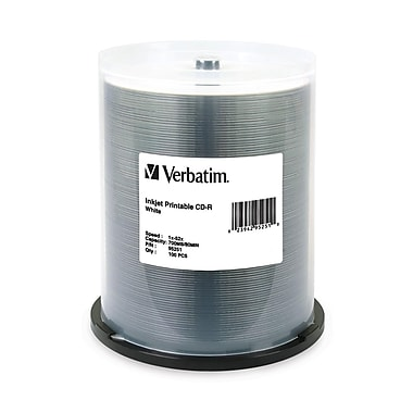 Verbatim® 700MB White Inkjet Printable CD-R, Spindle, 100/Pack