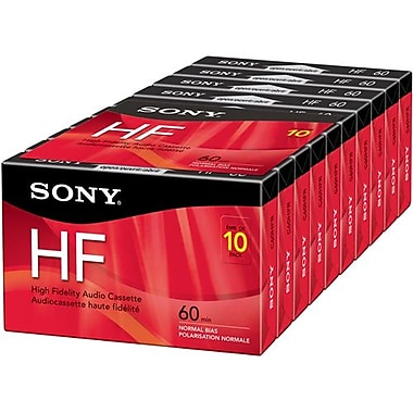Sony® Type1 Audio Cassette With Hang Tab, 60 min (30 x 2), 10/Pack