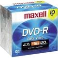 Maxell 4.7GB 16X DVD-R, Slim Jewel Case, 10/Pack