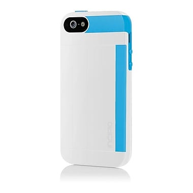Incipio® Credit Card Hard Shell Case for Apple iPhone 5, Optical White/Cyan Blue