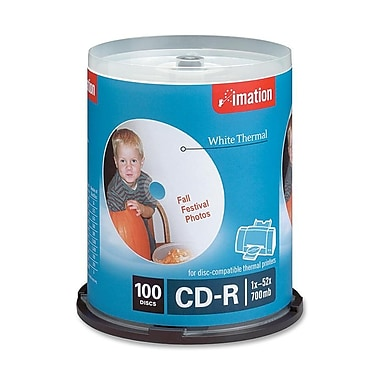Imation 700MB 52X White Thermal Printable CD-R, Spindle, 100/Pack