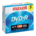 Maxell 4.7GB 16X DVD-R, Jewel Case, 5/Pack