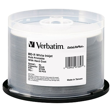 Verbatim® 97339 25GB Printable Disc, Spindle, 50/Pack