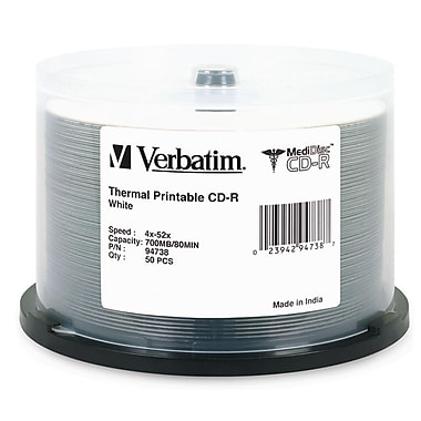 Verbatim® MediDisc 700MB White Thermal Printable CD-R, Spindle, 50/Pack