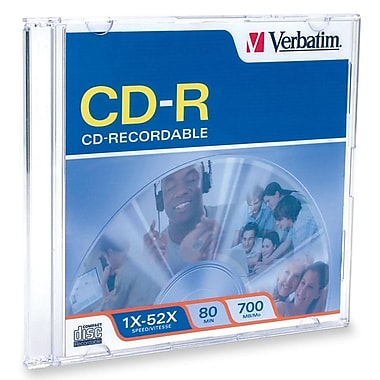 Verbatim® 700MB Blank/White Surface CD-R, Spindle, 100/Pack
