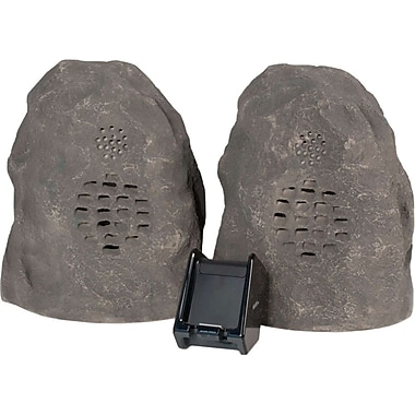 C2G 41307 Wireless Rock Speaker Bundle With Dual Power Transmitter, Grey/Granite