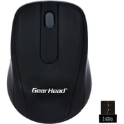 Gear Head® MP2120BLK 2.4 GHz Wireless Optical Nano Mouse, Black w/ Silver